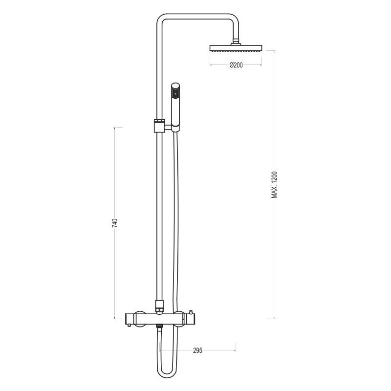 THERMOSTATIC SHOWER COLUMN MIXER WITH ADJUSTABLE HEIGHT